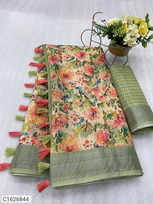 Beautiful Digital Printed Linen Saree With Tassels