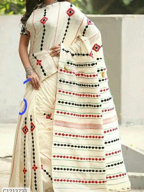 *Catalog Name:* Attractive Cotton Thread Embroidered With Tassel Border Pallu