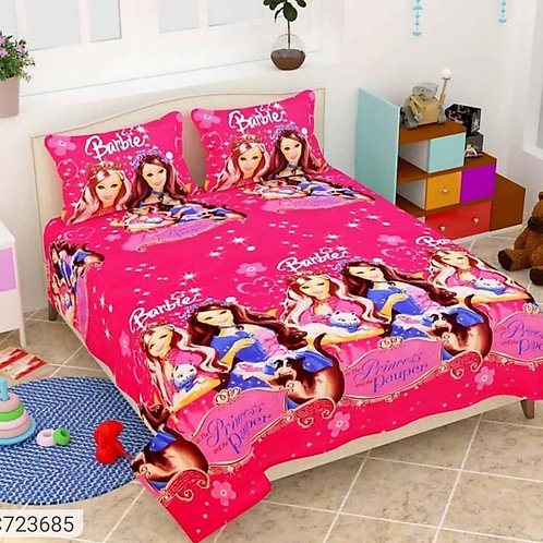 Barbie Printed PolyCotton Double Bedsheet
