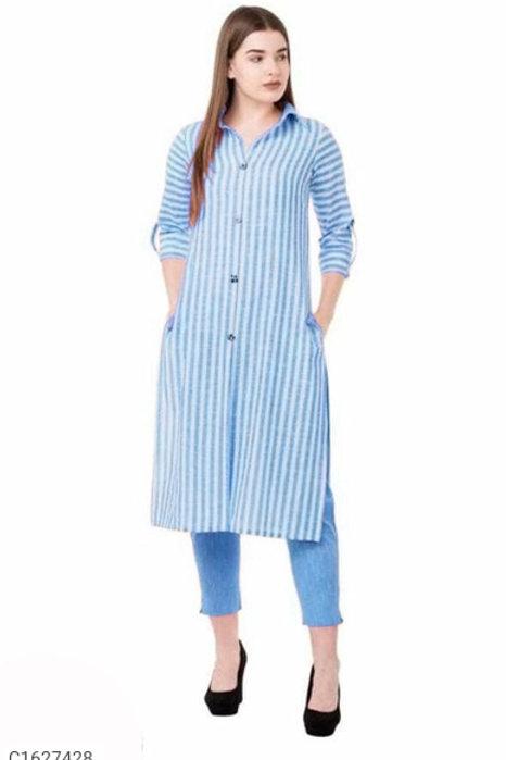 Beautiful Cotton Striped Printed Kurti Pant Sets
