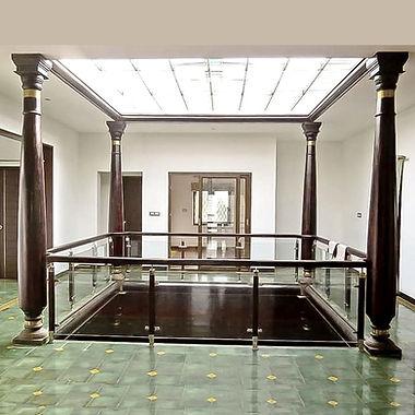Vernacular architecture, courtyard design, wooden columns, open to sky, glass railing, athangudi tiles, pergolas