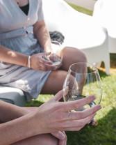 Wine bottle in hand