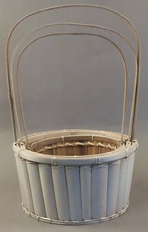 Bamboo Slat Baskets  Round with Handles