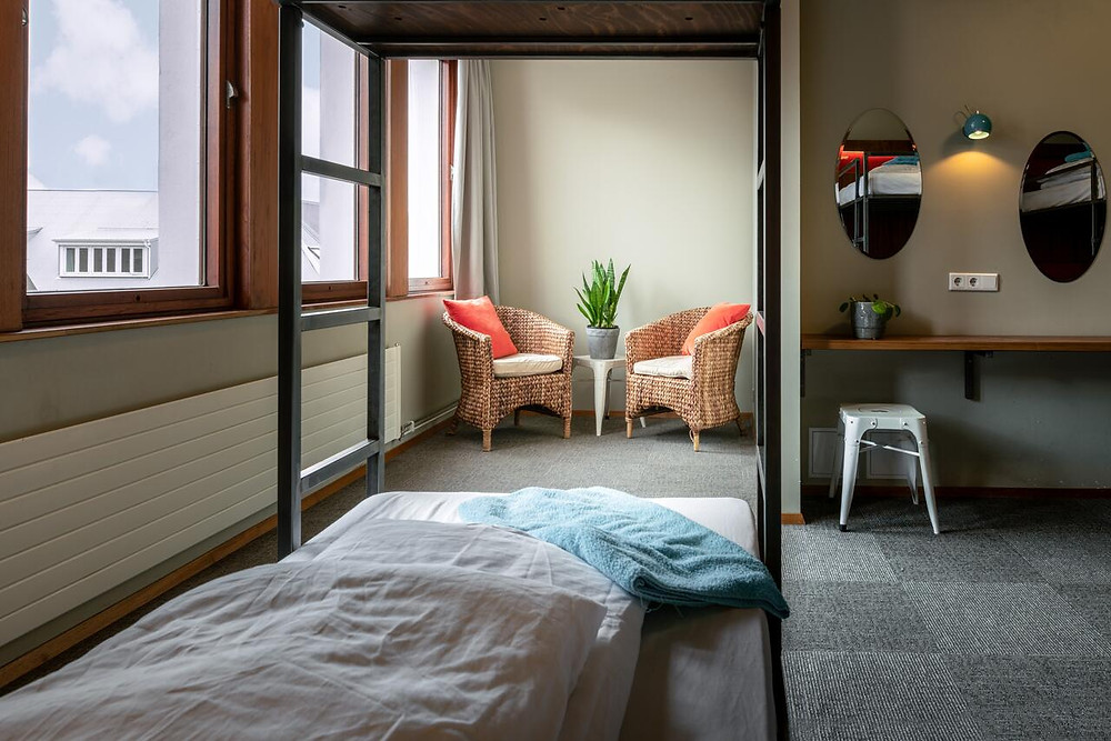 One of the comfortable dorm rooms at Loft Hostel, one of the greenest hostels in Iceland