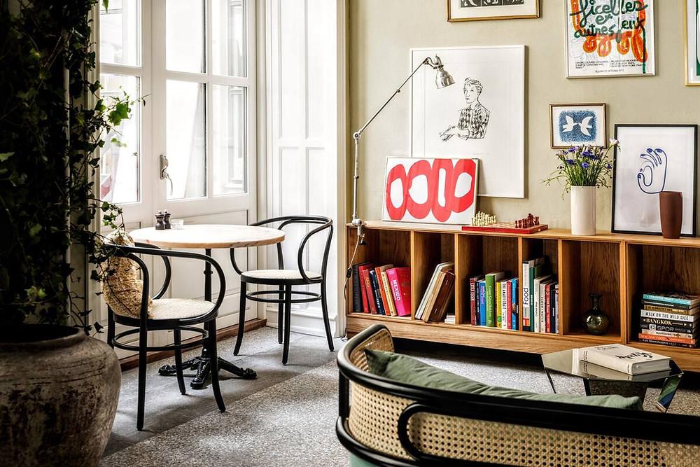 A stylish common area in the eco-friendly Coco Hotel