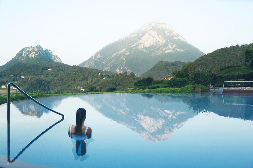 The pool at Lefay eco friendly resort in Italy