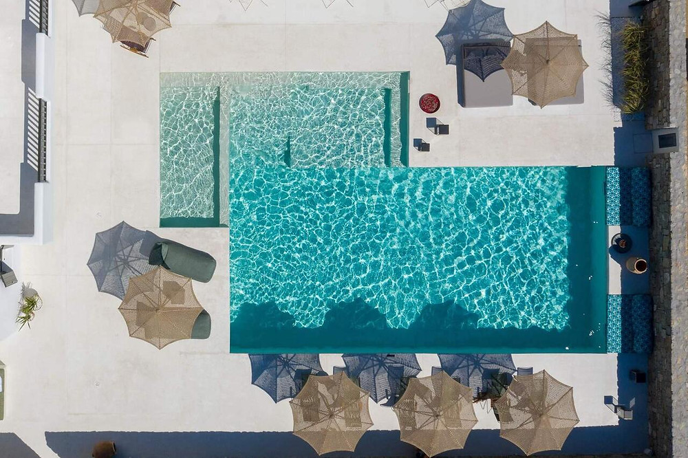 The swimming pool at the eco-friendly hotel Koukoumi on Mykonos