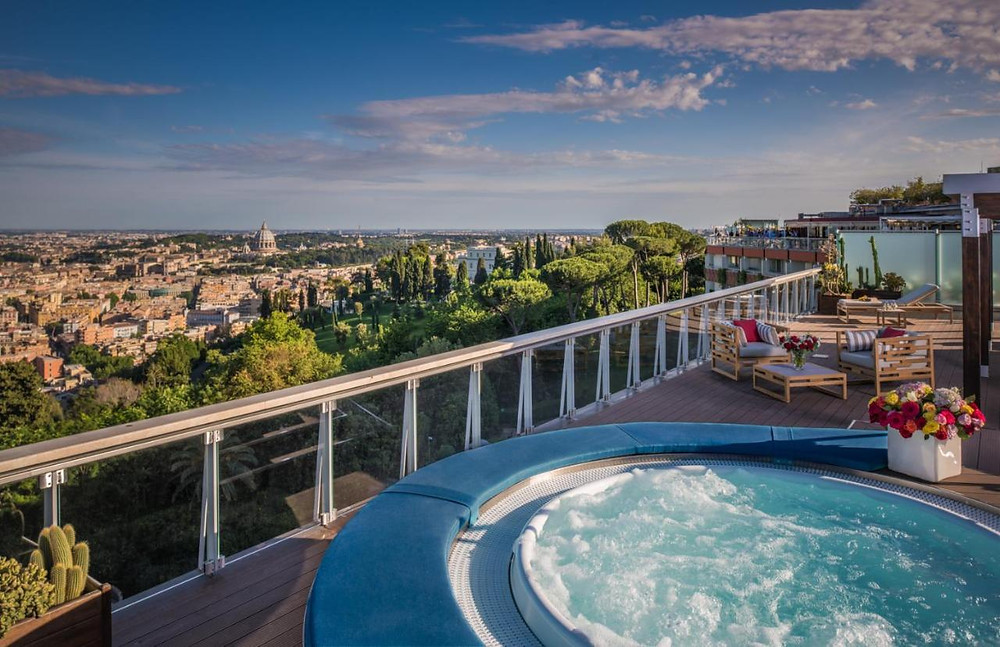 The rooftop spa at the eco-friendly Rome Cavalieri overlooking the city