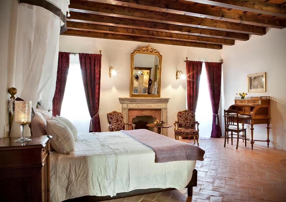 The elegant hotel room in the eco friendly hotel l'unicorno agriturismo in italy