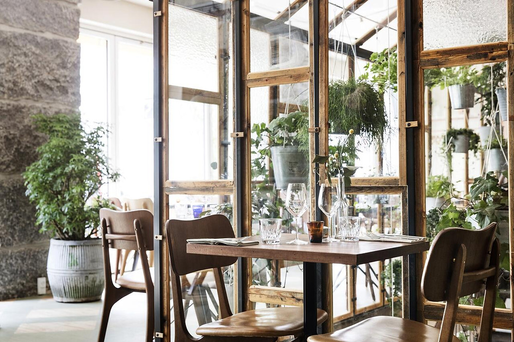 The beautiful dining space at Hotel SP34, an eco friendly hotel in Copenhagen.