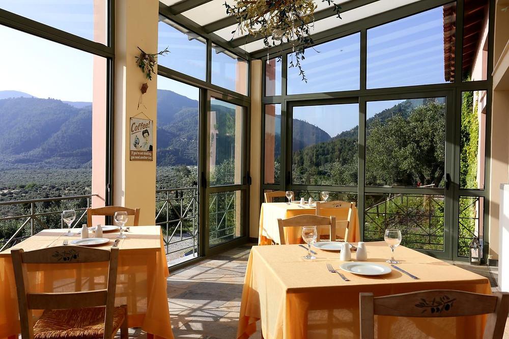 The dining room of Eleonas eco-friendly B&B in Greece