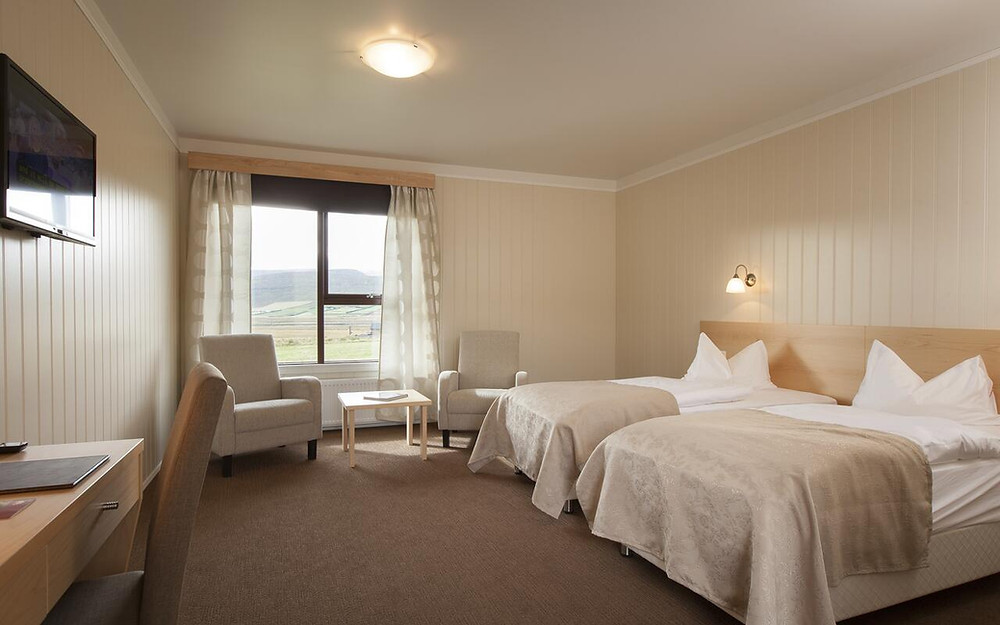 The interior of a room at Hotel Rauðaskriða, one of the best eco-friendly hotels in Iceland