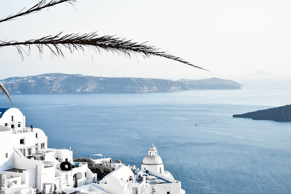 A stunning view from Santorini in Greece