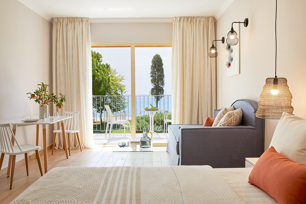 A luxurious suite at Parga Hotel, one of the best green hotels in Greece.