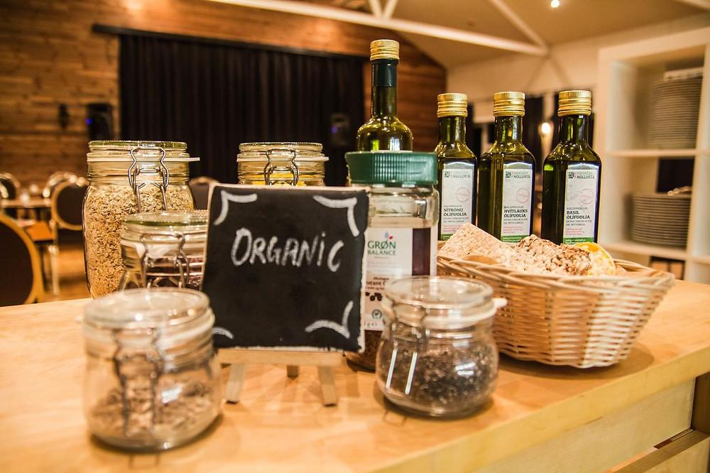 Organic and environmentally friendly breakfast food at the low-impact Hotel Fljósthlíð