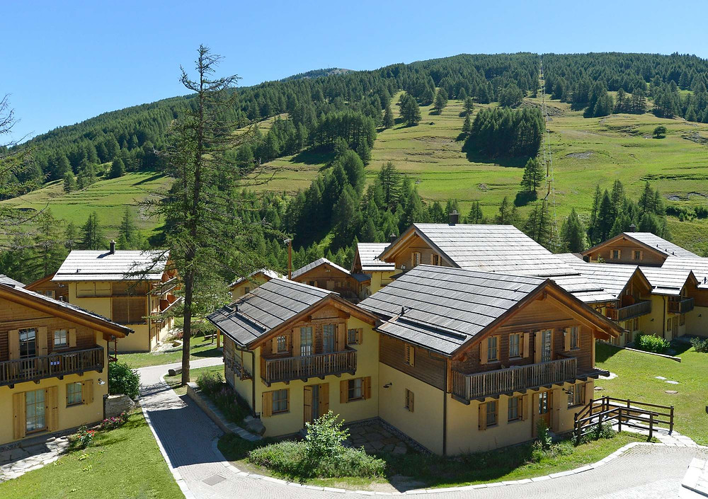 The cabins at the eco-friendly hotel in Italy Club Med Pragelato