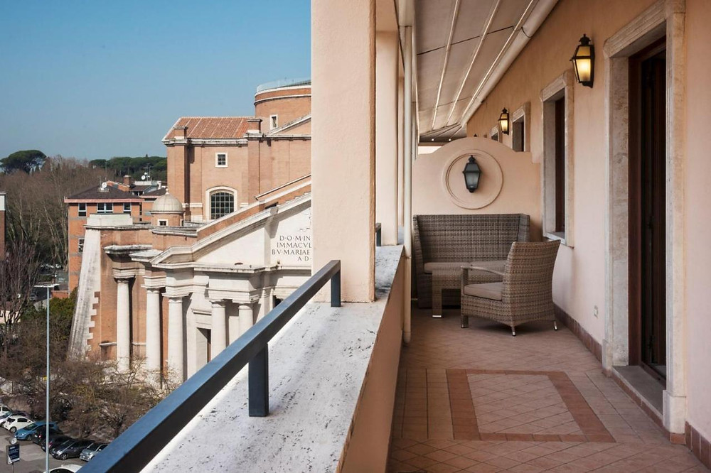A balcony of the eco-friendly Radisson Blu in Rome overlooking the city
