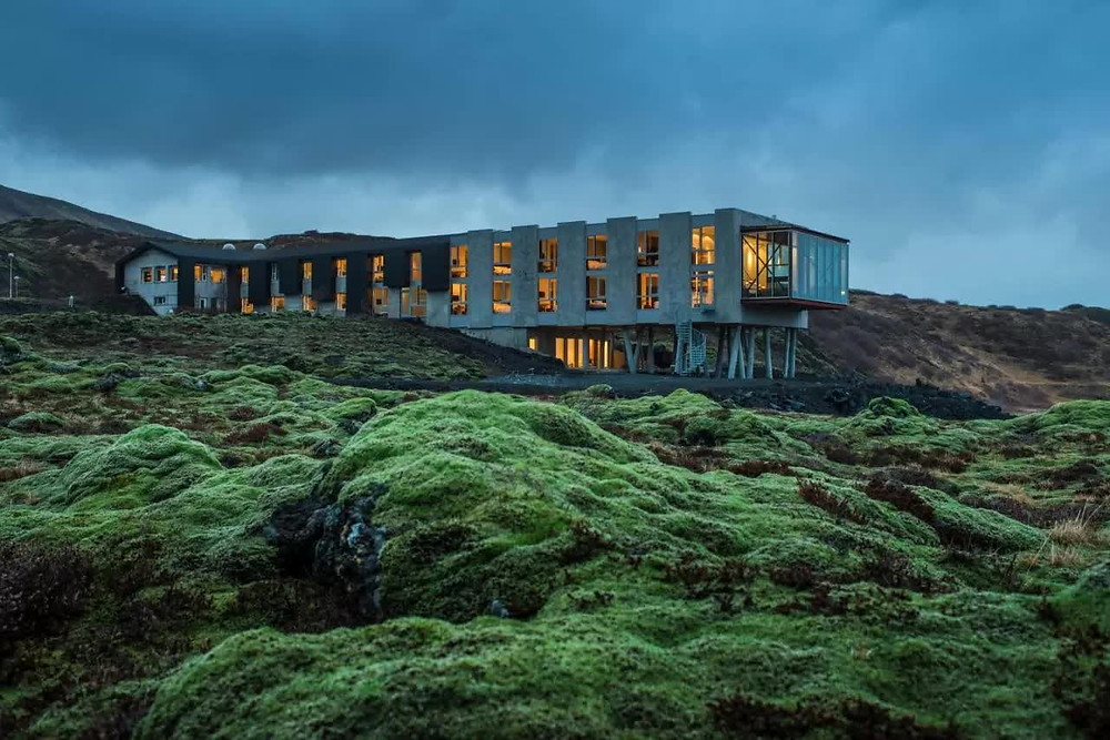 A eco-friendly hotel in Iceland surrounded by lava