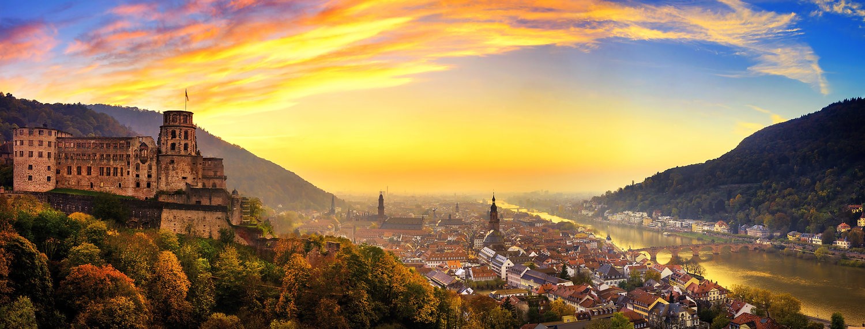 Heidelberg, Drohne, Luftbild, Neckar, Sonnenuntergang