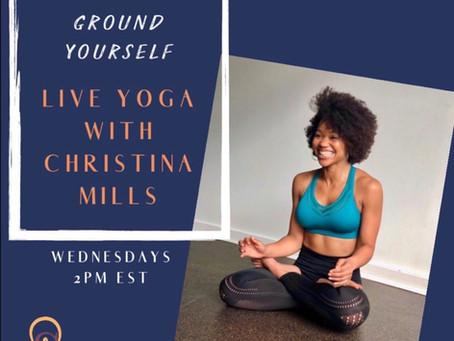 Live Online Yoga Wednesdays at 2 EST