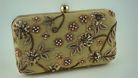 Beige Flower Clutch