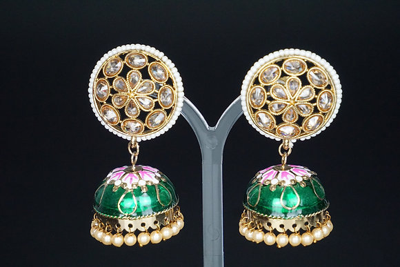 Green Flower Jhumki