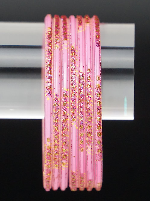Rosa Glas Armreifen