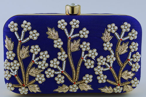 Royal Blue Flower Clutch