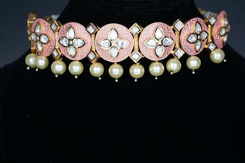 Meena Pink Choker Set