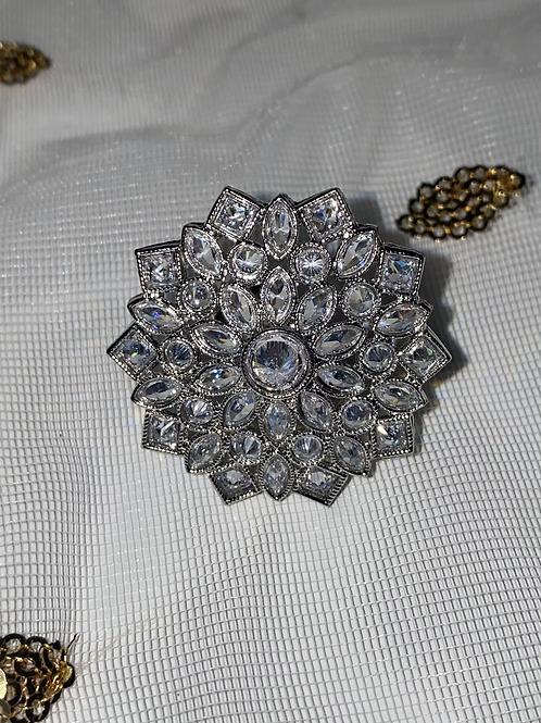 Kundan Ring Silver