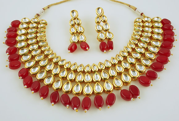Red Kundan Set