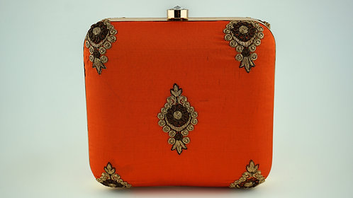 Orange Ornament Clutch
