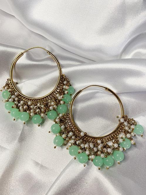Mint Pearl Hoops