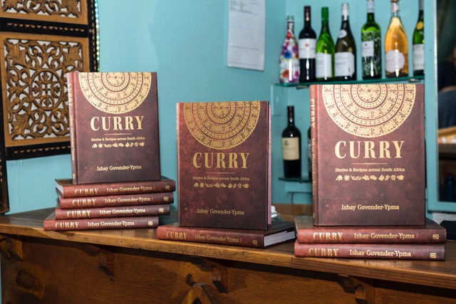 copies of Ishay's book on display.