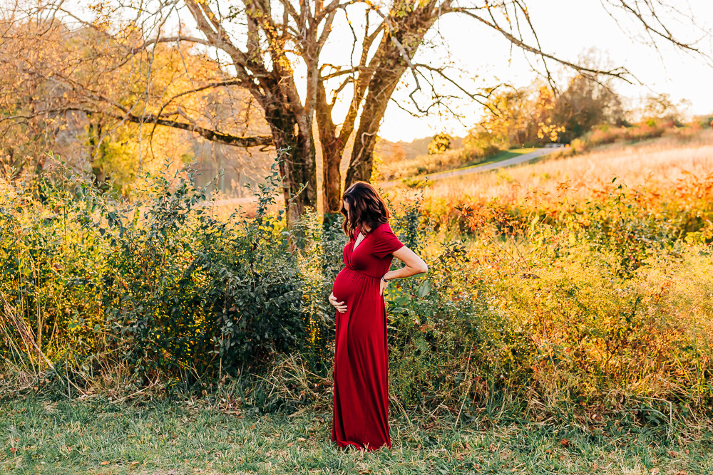 Expectant mother to be for her maternity photo session with knoxville family photographer sweetest moments photography at melton hill park in hardin valley tennessee