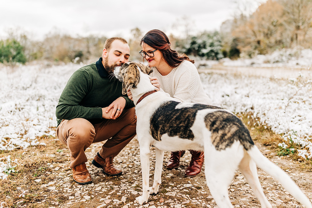 Couple loving on their puppy at Meads Quarry for their lifestyle family session with Sweetest Moments Photography in Knoxville, TN