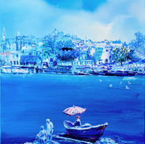Behind Blue 16, 53x45cm, oil on canvas,