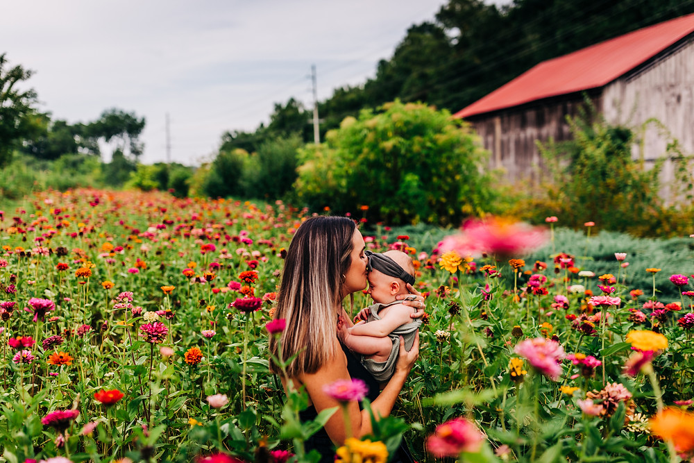 Mother and daughter wading in a field of wildflowers by a rustic barn in knoxville tn for a mommy and me session with knoxville family photographer sweetest moments photography