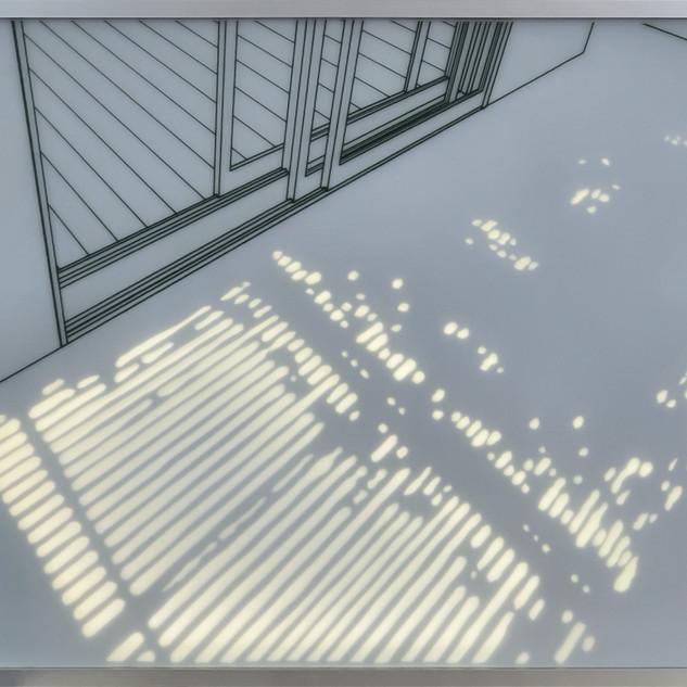 17.빛이드는 공간. 2020,50x67x4cm강화유리에 샌딩, 유리전사