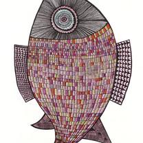 M218. shell fish, Acrylic, Pen on canvas