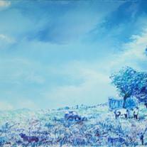 Behind Blue 13, 73x60cm, oil on canvas,