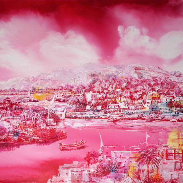 Behind Red 3, 145x160cm, oil on canvas,