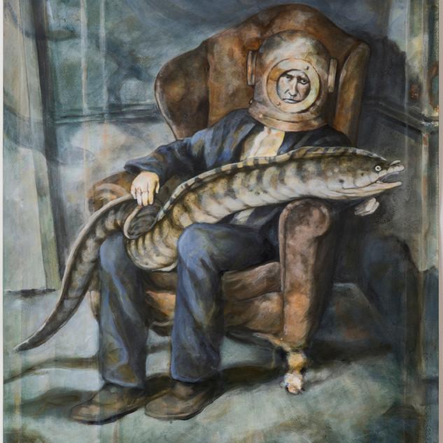 Corinne Chaix, Man and His Murena, Acryl