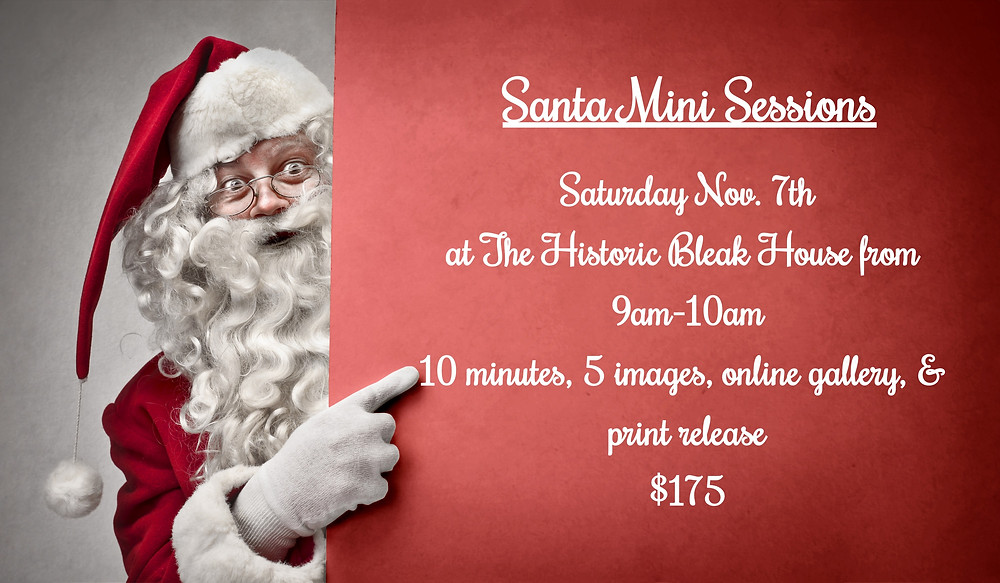 image of santa pointing to words for santa mini sessions with sweetest moments photography on nov 7th at the bleak house in knoxville tn