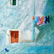 Behind Blue-Old House 2, 45x45cm, mixed