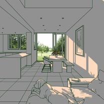 s빛이 드는 공간, 2019,102x80x4cm강화유리에 샌딩, 유리전사