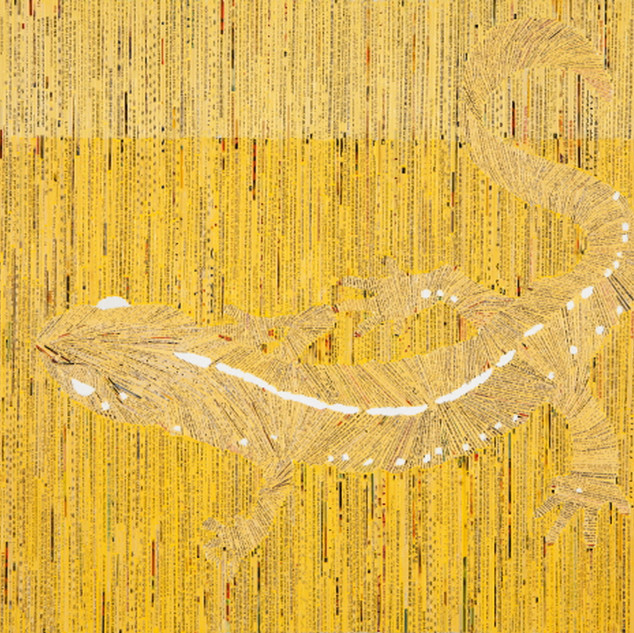 s_Reptiles-Mr.D, collage on canvas 40.9