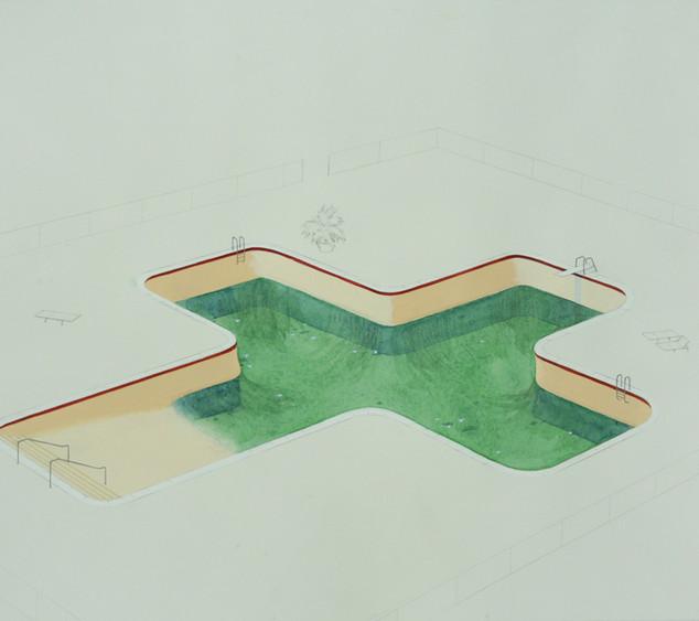 Chris Ballantyne, Pool, Acrylic on paper