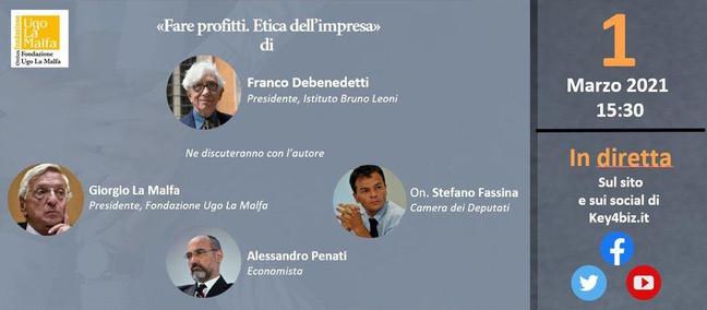 """""""Fare profitti. Etica dell'impresa"""", oggi alle 15,30 online"""