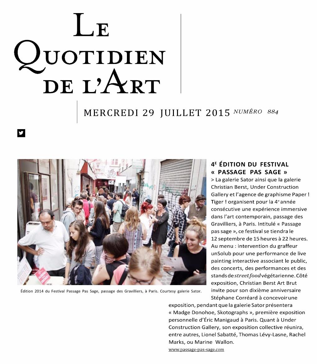 LE QUOTIDIEN DE L'ART N°884